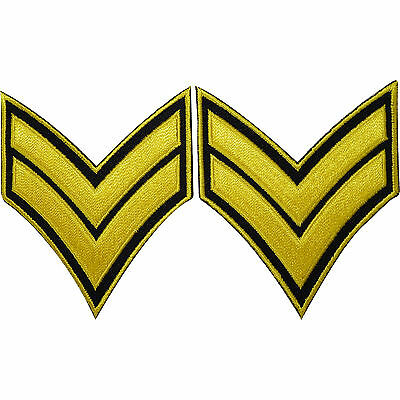 Pair Corporal Rank Stripes Embroidered Iron / Sew On Patches Army Uniform Badges