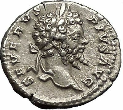 SEPTIMIUS SEVERUS Veiled with branch 202AD Silver Ancient Roman Coin  i52234