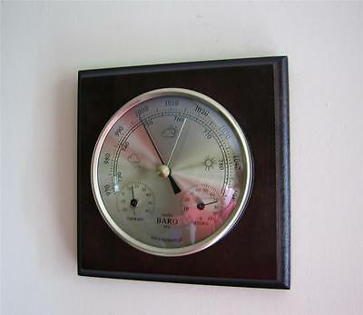 Weather Station Barometer Thermometer Hygrometer Gold Coloured Dials Wall Mount
