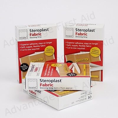 Fabric Dressing Strip On a Roll Cut to Size Plasters in Box. 6cm x 75cm: Qty 4