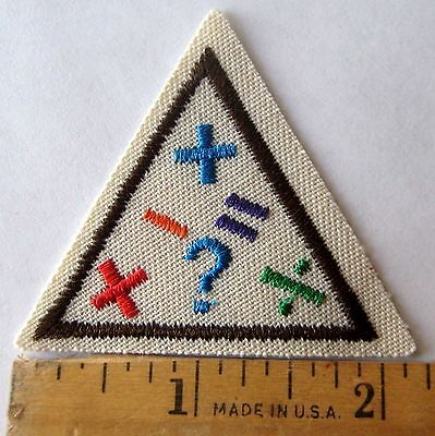 Retired Girl Scout Brownie MATH FUN TRY-IT Add Subtract Symbols Badge Patch