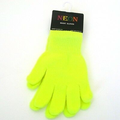 New Neon Yellow Kids Childrens Girls Boys Magic Gloves - Autumn Winter