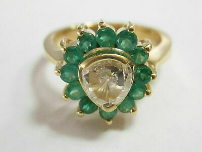 Natural Old European Cut Diamond & Natural Green Emerald Accents Ring Size 7 18k