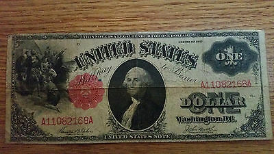 $ 1.00 one dollar united states 1917 series legal tender note