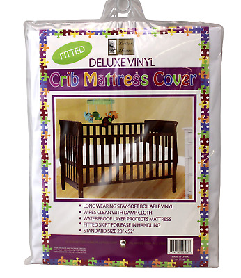 "Vinyl Crib Mattress Cover Keeps Bed Bugs & Mites Out Standard Size 28""x52 Zipper"