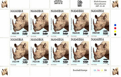 Namibia 1997 Definitives Overprinted 2005 Sg1005 Sheetlet Of 10 Mnh
