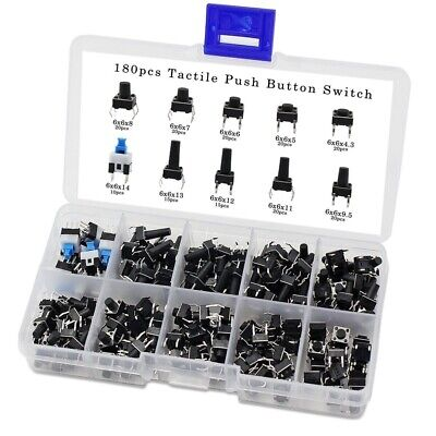 10Values 180PCS Tactile Push Button Switch Mini Momentary Tact Assortment Set Kj