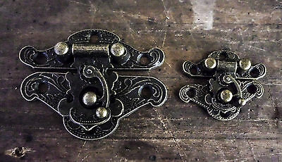 Boxes Catches Styled Hasp Latch carved pattern Antique Brass 48x38mm or 27x23mm