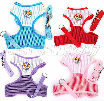 Soft Mesh Fabric Dog Puppy Pet Adjustable Harness Lead Leash with Clip
