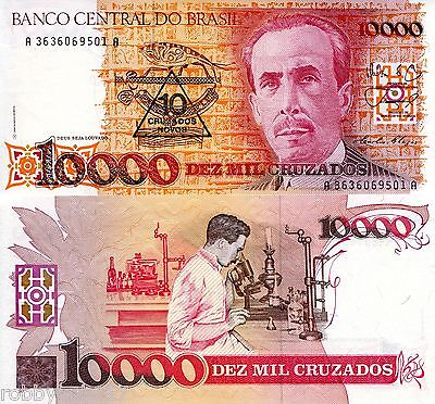 BRAZIL 10000 OP 10 Cruzados Banknote World Money Currency BILL p218b Note Chagas