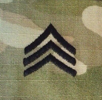 US Army OCP Rank Sergeant E5 Patch Sew On PAIR       Made in USA