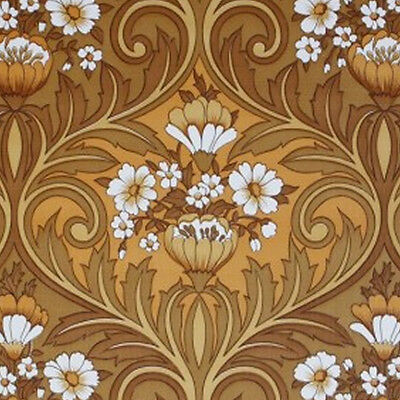 New Color - ORIGINAL FRENCH Vintage Browns Floral Vinyl Wallpaper 1970s 60s