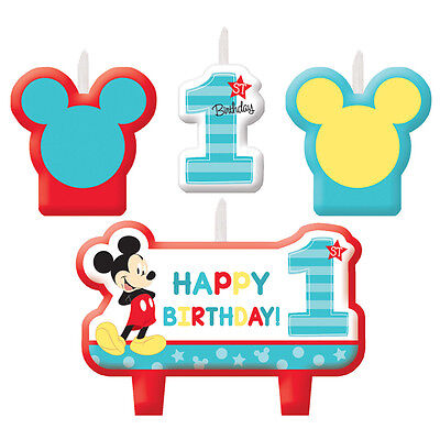 New Baby Mickey Mouse Candles Set (4ct)  Birthday Party Favor Supplies Goodies~