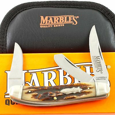 MARBLES STAG BONE 3 Blade SOWBELLY Pocket KNIFE #103 Handles Folding Pouch