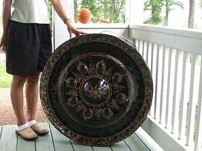 """Gong Authentic Buddhist Temple 31"""" Hammered Bronze w/ Striker"""