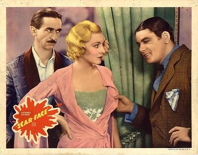 SCARFACE (ca. 1935 RR) Lobby card Muni inspects Morley as Perkins watches NOIR