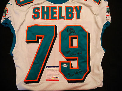 d8106a7d0 #79 Derrick Shelby Miami Dolphins Signed Game Used White Jersey Psa/Dna  Y60438
