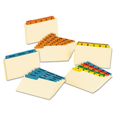 """Oxford Laminated Index Card Guides, Monthly, 1/3 Tab, Manila, 3 X 5, 12/set"""