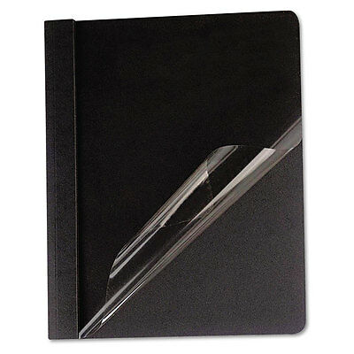 """""""Universal Clear Front Report Cover, Tang Fasteners, Letter Size, Black, 25/box"""""""