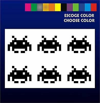 6 PEGATINAS - Sticker - Vinilo - SPACE INVADERS- Aufkleber Vinyl Iphone Sickers