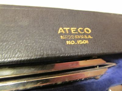 Vintage Ateco Drafting Tools In Handy Case~Made In The USA~Compasses, Etc.