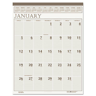 Large Print Monthly Wall Calendar In Punched Leatherette Binding