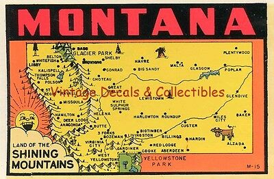 Vintage Montana State Shining Mountains Souvenir Travel Decal Luggage Sticker