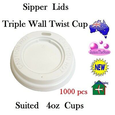 Sipper Lids for Triple Wall Twist Cup 4oz 120ml Coffee 1000 Lid Hot & Cold Drink