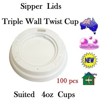 Sipper Lids for Triple Wall Twist Cup 4oz 120ml Coffee 100 Lids Hot & Cold Drink