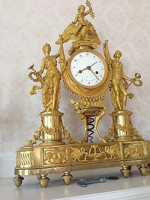 Museum Quality Very Fine Large French Ormolu Dore Bronze Mantle Clock 1790-1810