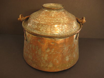 """Vintage Hand Hammered & Made Copper Pot With Lid And Iron Handle, 7 3/4"""" Tall"""