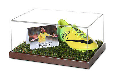 Ronaldo Signed Football Boot Display Case Brazil Autograph Soccer Memorabilia