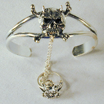 DEVIL SKULL X BONE HORN SLAVE BRACELET #39 jewelry RING women ladis silver set