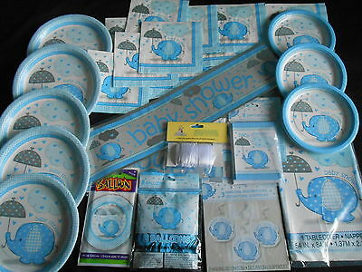 JOB LOT OF BLUE Baby Shower Party Supplies Tableware Decorations BOY