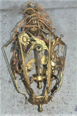 Ornate Metal Hanging Light Fixture Great Patina Quite Old