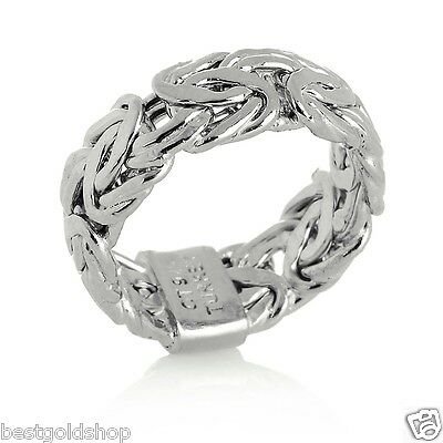 Technibond Byzantine Link Band Ring Platinum Clad Sterling Silver 925 7mm