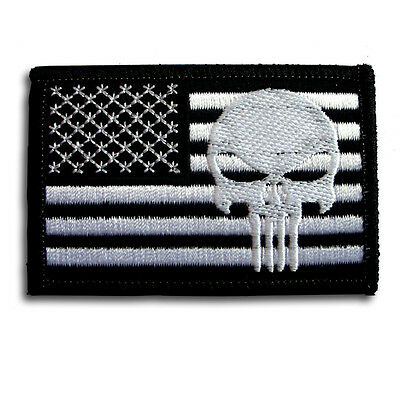 Punisher American US Flag Military Army MORALE Black Patch Iron On Harley Biker