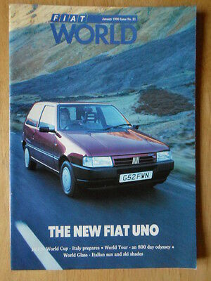 FIAT WORLD 1990 UK Mkt magazine brochure - Edition 21 - New Uno Turbo