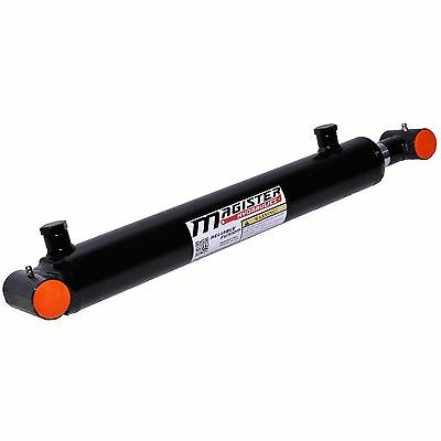 "Hydraulic Cylinder Welded Double Acting 2"" Bore 14"" Stroke Cross Tube 2x14 NEW"