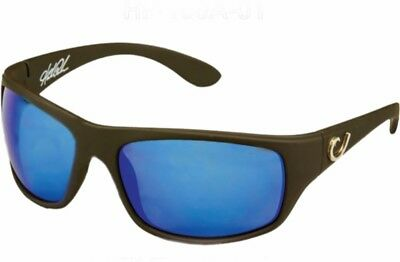 Mustad Hank Parker Polarized Sunglasses-Black Frame with Blue Lens-HP100A-1