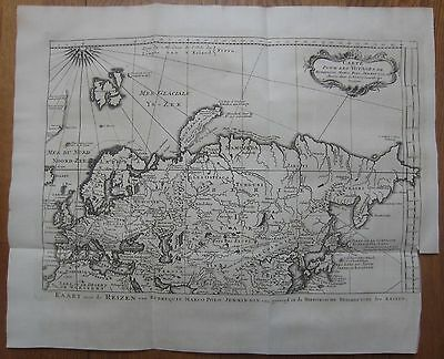 BELLIN: Map of Europe Russia Asia Travels Marco Polo  - 1750