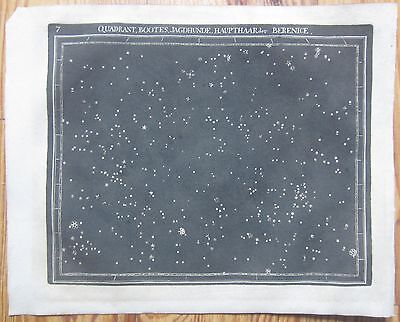 Goldbach: Rare Black and White Celestial Map Stars Bootes Berenice - 1799