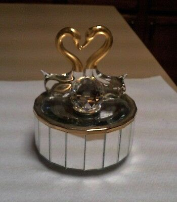 GLASS SWANS DANCING BY A CUT CRYSTAL BALL MUSIC BOX MIRROR SIDES AND SURFACE