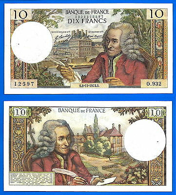 France 10 Francs 1973 8 November Serie O Voltaire banknote Free Shipping World