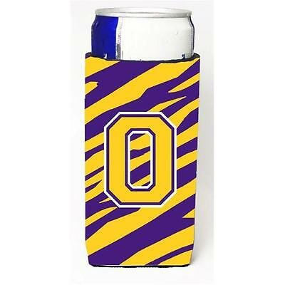 Tiger Stripe Purple Gold Monogram Letter O Michelob Ultra s For Slim Cans