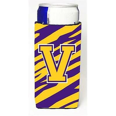 Tiger Stripe Purple Gold Monogram Letter V Michelob Ultra s For Slim Cans
