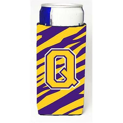 Tiger Stripe Purple Gold Monogram Letter Q Michelob Ultra s For Slim Cans