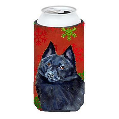 Schipperke Red and Green Snowflakes Holiday Christmas Tall Boy Hugger