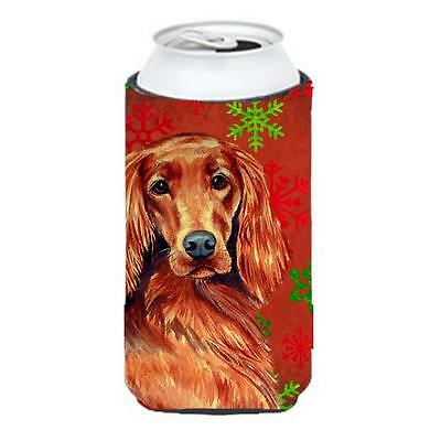 Irish Setter Red and Green Snowflakes Holiday Christmas Tall Boy Hugger