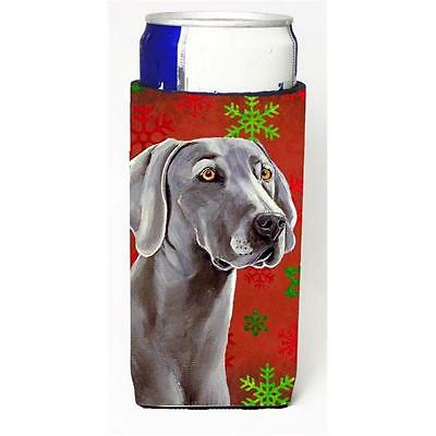 Weimaraner Red and Green Snowflakes Holiday Christmas Michelob Ultra s for sl...